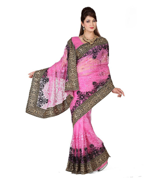 Designer Net Sarees Pink Color Embroidery & Border Work Net Saree For Women