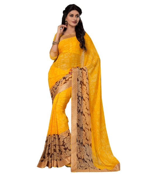 Yellow Color Georgette Sarees With Floral Print Work S052