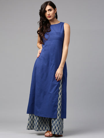 Jaipur Blue Kurti With Printed Palazzo Salwar Suits Online