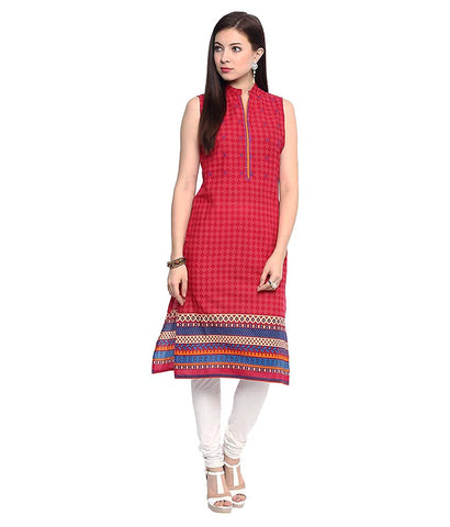 Cotton Kurtis Collection Red Straight Sleeveless Cotton Kurti And Kurtas