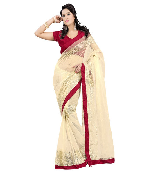 Beige Color Net Saree With Lace Border Work