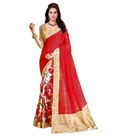 Red & Beige Color Art Silk Saree Floral Print Bhagalpuri Silk Sarees