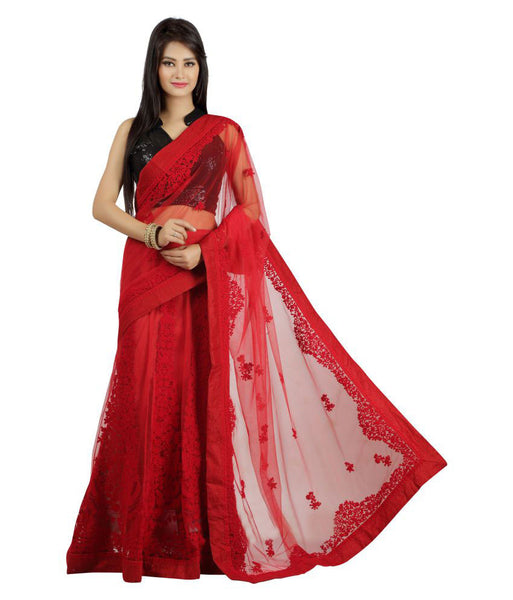 Party wear Red Color Net Saree With Embroidery Work
