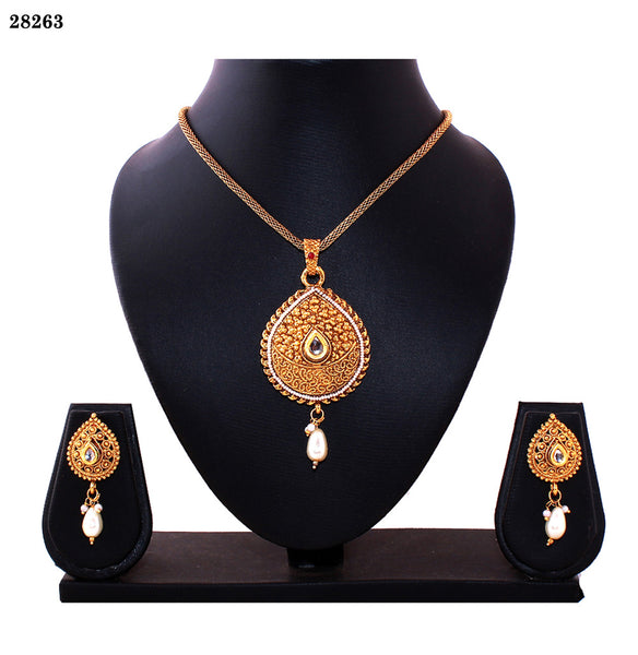 Jewelry Necklaces Gold Colored Alloy With Moti & Diamond Opera Necklace