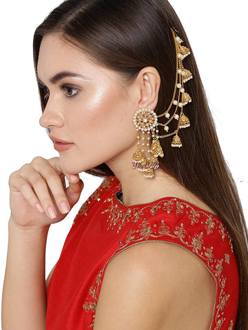 Traditional Fancy Party Wear Jhumki Earrings - Jhumka Earring Chain Jewellery Set