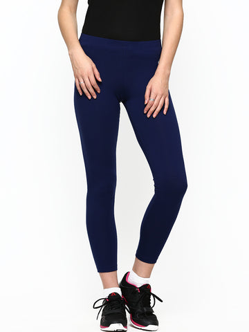 Cotton & Elastane Blend Blue Leggings For Girls LS3