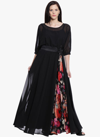 Daily Deals Black Dress Printed Maxi Dress Flared Dress For Girls
