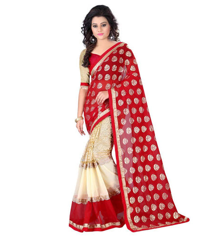 fs-15-awesome-red-and-off-white-festival-sarees-ethnic-print-with-red-&-golden-lace-border-sarees