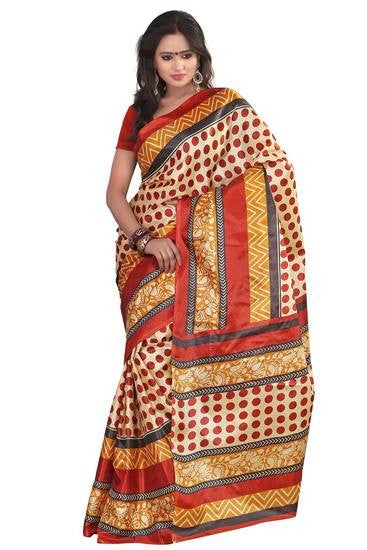 Gorgeous Polka Dots Printed Saree For Women