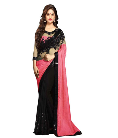 Black & Pink Color Net Saree Designed With Floral Embroidery & Lace Work Designer Net Sarees