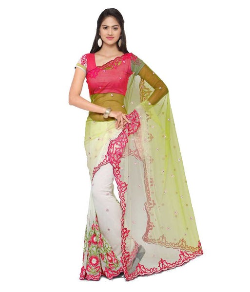Multicolor Net Saree Floral Embroidery, Lace Border & Booties Work Designer Net Sarees