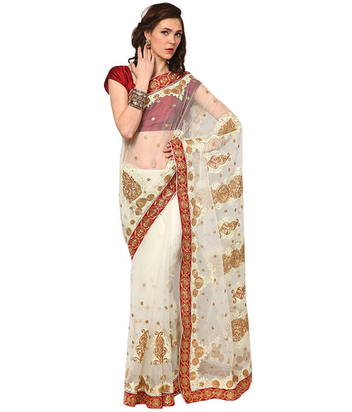 Designer Net Sarees Off- White Color Patch & Lace Border Work
