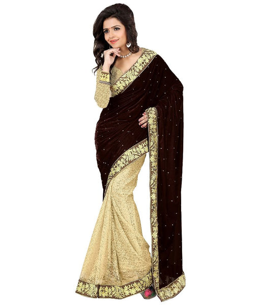 Velvet Bridal Sarees Embroidered Border Net Saree With The Blouse