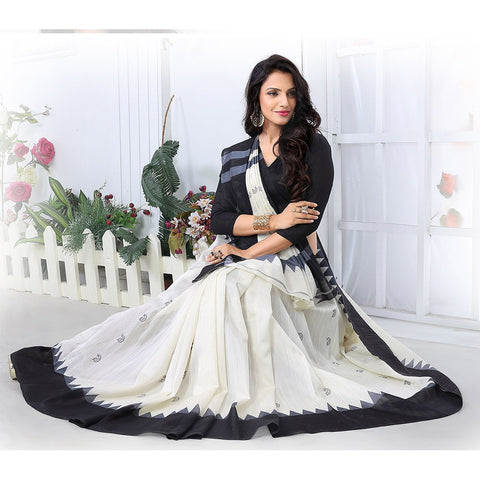 Black & White Pure Art Silk Bhagalpuri Saree Printed Silk Saree