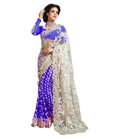 Blue Color Net Saree With Floral Heavy Embroidery Work Saree