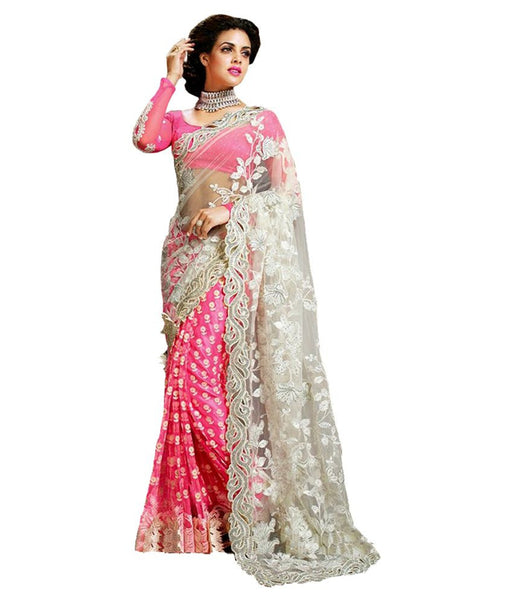 Pink Color Net Saree With Floral Heavy Embroidery Work Saree