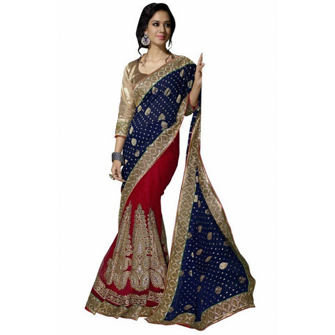 Designer Blue & Red Net Embroidered Saree­ Viscose & Satin Net Party Wear Saree