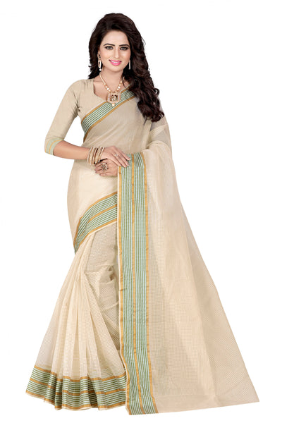Latest Cotton Sarees Cream & Green Poly Cotton Saree With Woven Work