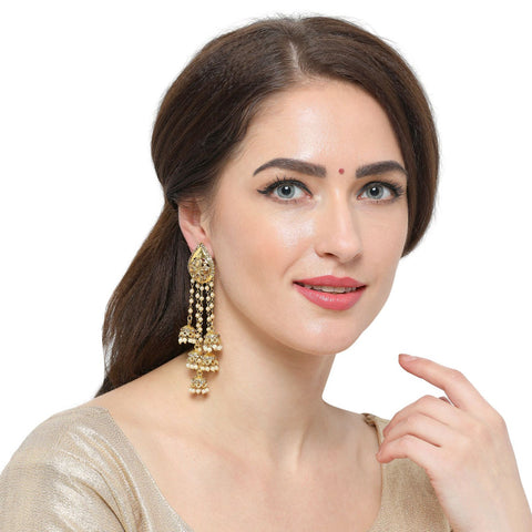 Latest Jewelry Gold Plated Earrings With Jhumka Hangings