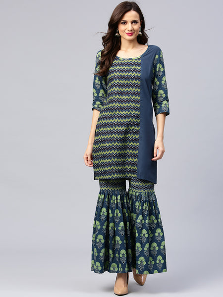 Latest Sharara Suits Blue & Green Printed Sharara Suits Online