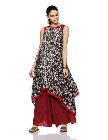 Leaf Print Asymmetrical Hemline Cotton Anarkali Kurta