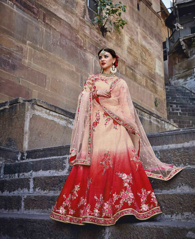 Lehenga Choli Bridal Red & Peach Ghagra Choli Bridal With Rose Embroidery Work