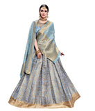 Light Blue Banarasi Silk Lehenga Choli Embroidered Wedding Ghagra Choli Online