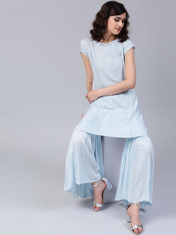 Light Sky Blue Sharara Suits With Long Kameez For Girls