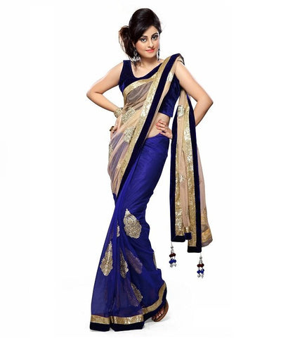 Blue & Cream Color Net Saree Designed With Patch & Digital Lace Work