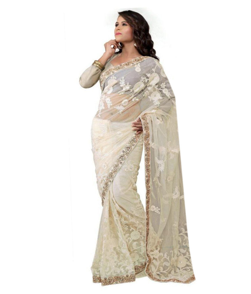 3e7ce8ee682 Buy Now Designer Net Sarees White Color Net Saree With Floral Embroidery  Work – Lady India