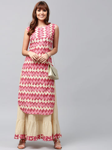 Long Kurtis With Skirts Pink & Beige Printed Straight Kurta With Skirt For Women