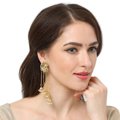 Long Chain Earrings With Stone And Pearl Work Earrings For Women