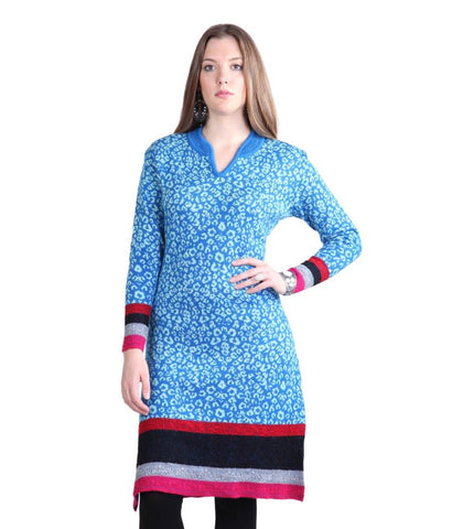 Long Woolen Kurtis Online Navy Blue Winter Kurtis Printed Winter Kurti Online