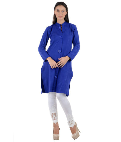 Long Woolen Kurtis Online Plain Blue Toggle Design Winter Kurtis For Womens