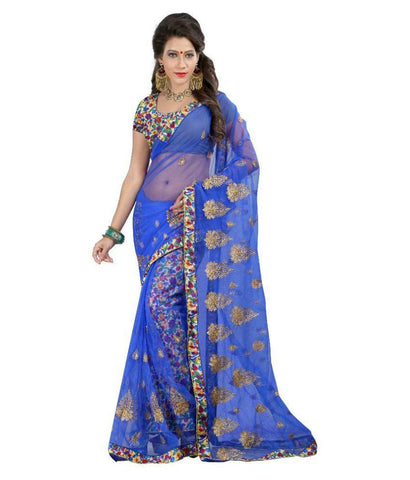 Blue Color Net Saree Designed With Embroidery & Floral Lace Work Designer Net Sarees
