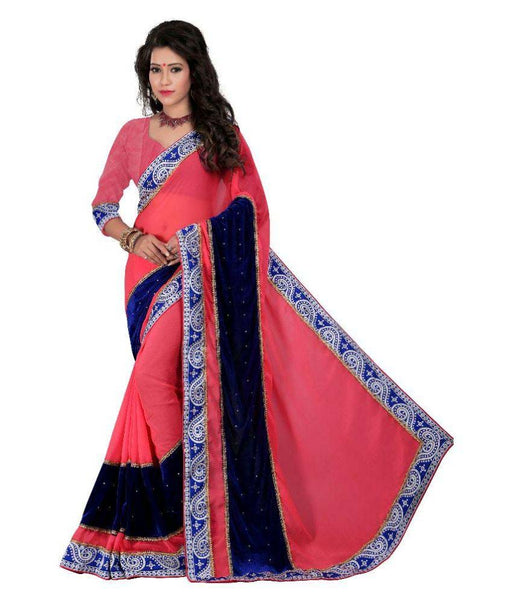 Partywear Designer Velvet Sarees Broad Border With Plain Blouse
