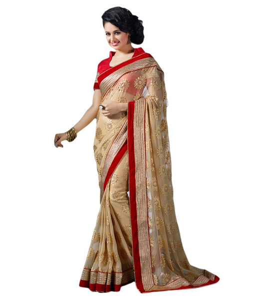 Designer Net Sarees Beige Color Floral Embroidery & Broad Lace Border Net Saree