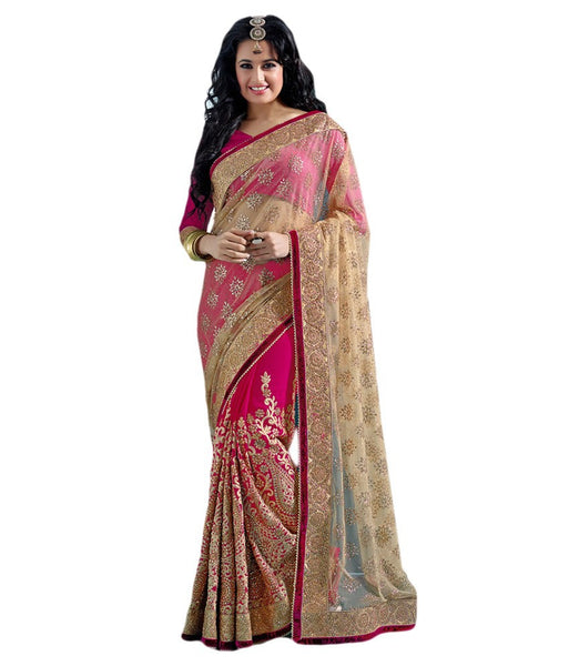 Pink Color Net Saree Designed With Heavy Embroidery & Stone Work