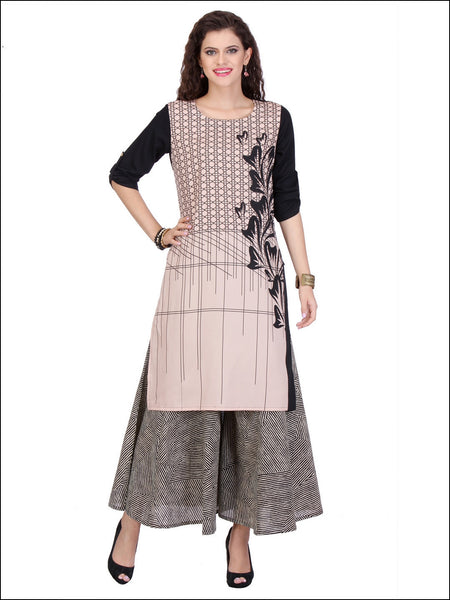 Peach & Black Casual Wear Rayon Kurtis & Kurtas Stitched Printed Kurti
