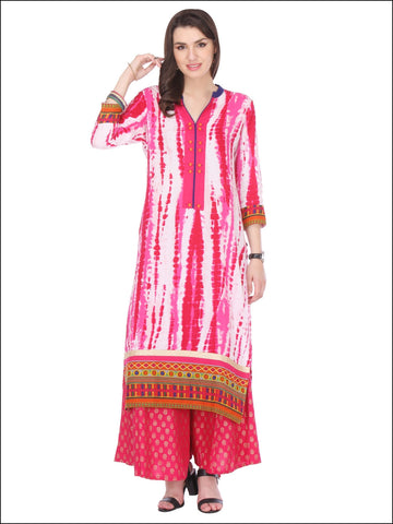 Straight Casual Wear White & Pink Colored Stitched Rayon Printed Kurti For Girl