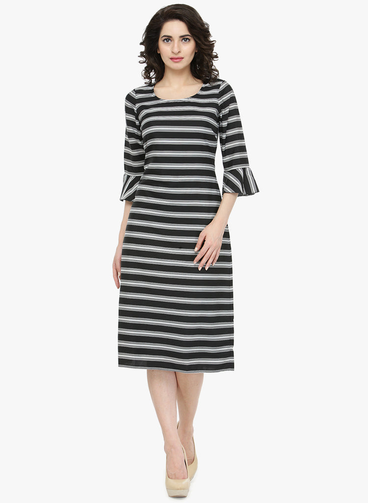 56fb5c95923 Get Online Black   White Coloured Striped Pattern Shift Dress ...