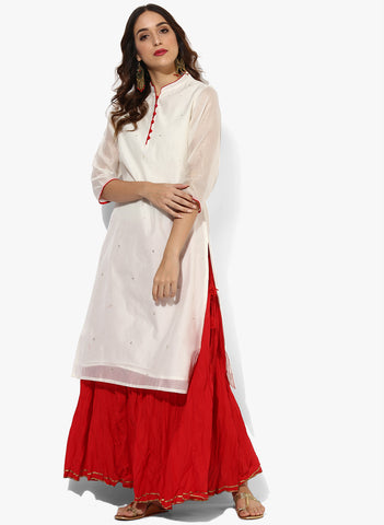 Long Kurta With Skirts - Kurta With Button And Sequence Detailing And With Embellished Skirt Festival Offer