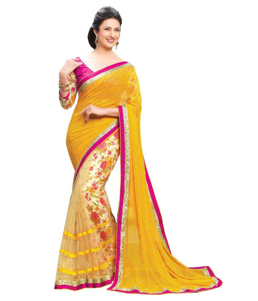 Yellow Color Net Saree Designed With Floral Embroidery, Lace & Stone Work