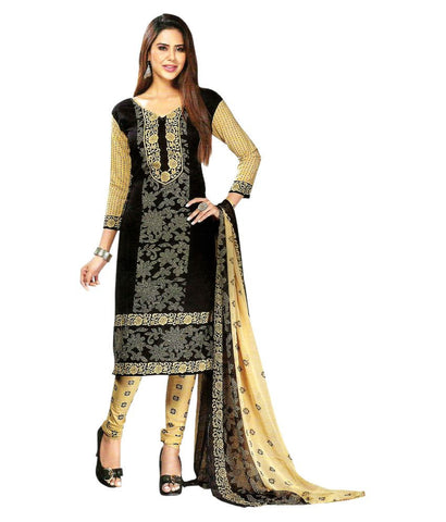 Summer Collection Black Chiffon Salwar Suit Straight Casual Wear Unstitched Dress Material