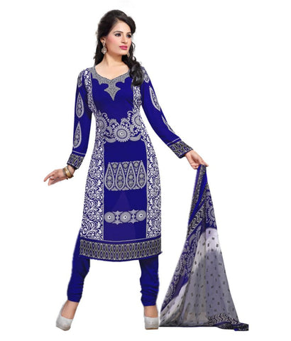 Buy Summer Special Collection Blue Chiffon Straight Printed Casual Wear Unstitched Dress Material For Women