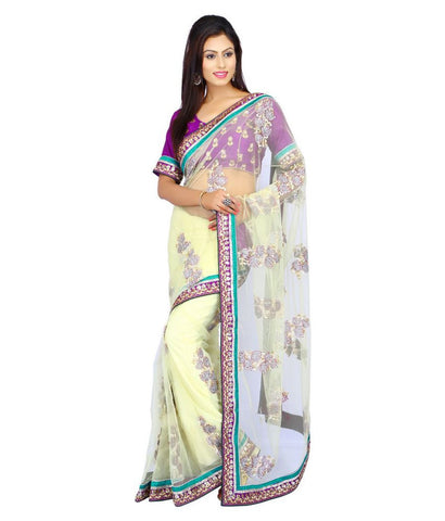Cream Color Net Saree Designed With Floral Embroidery & Lace Border