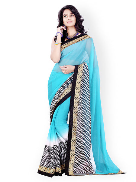Designer Printed Sarees Skyblue Color Chiffon Saree S097