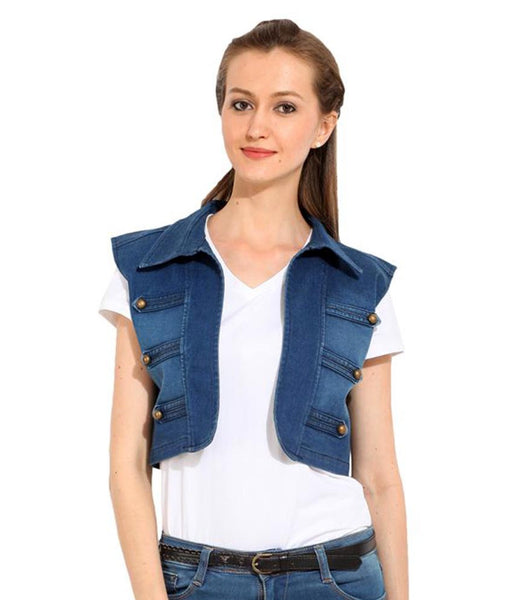 Blue Denim Embellished Winter Sleeveless Jacket For Women