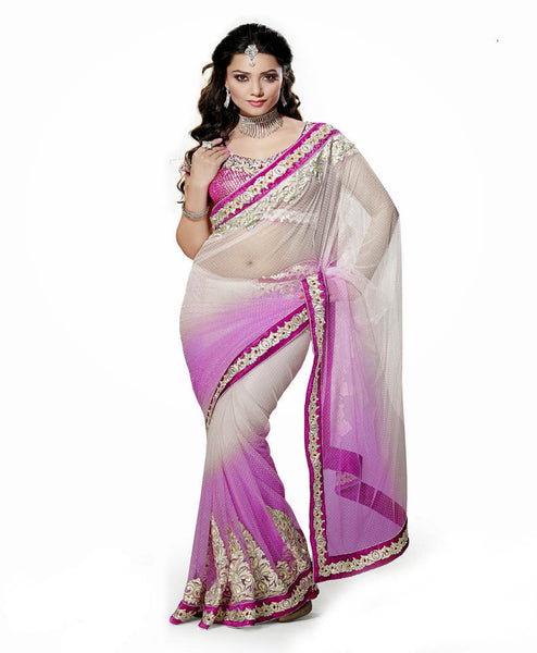 Purple & Off White Color Net Saree Designed With Patch & Lace Border Work Designer Net Sarees