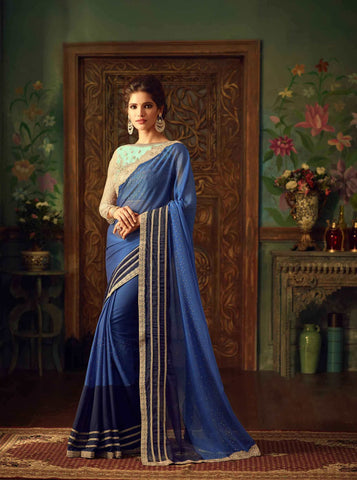 Monash Silk Blue Shaded Color Heavy Lace Work Designer Sarees For Women
